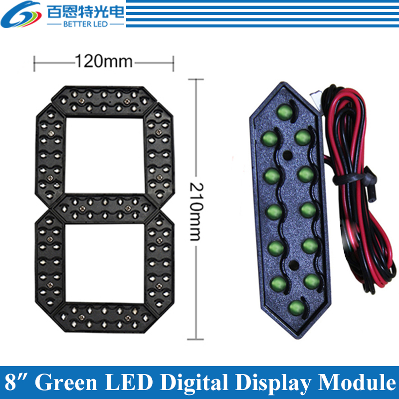 "4pcs/lot 8"" Green Color Outdoor 7 Seven Segment LED Digital Number Module for Gas Price LED Display module-in LED Displays from Electronic Components & Supplies"