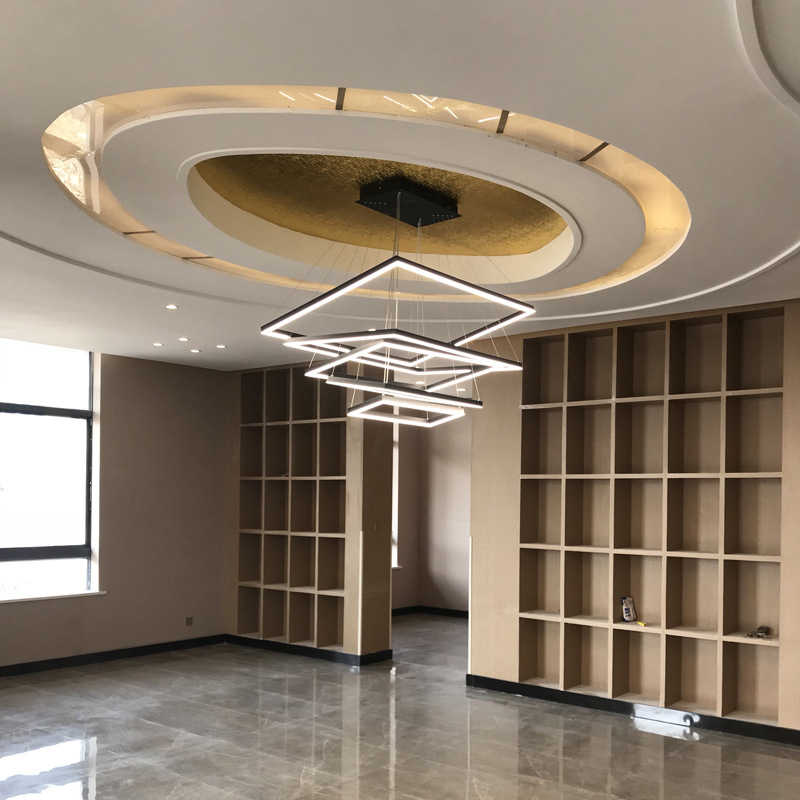 Пост-Современная гостиная люстра ресторан кабинет украшения для гардероба лампы алюминий акриловая люстра светодиодный светильник
