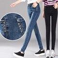 2016 Do Sexo Feminino Mulheres Moda Calças Compridas Calças das Mulheres Plus Size Elásticas Calça Jeans Lápis Mulher Denim Azul Cinza