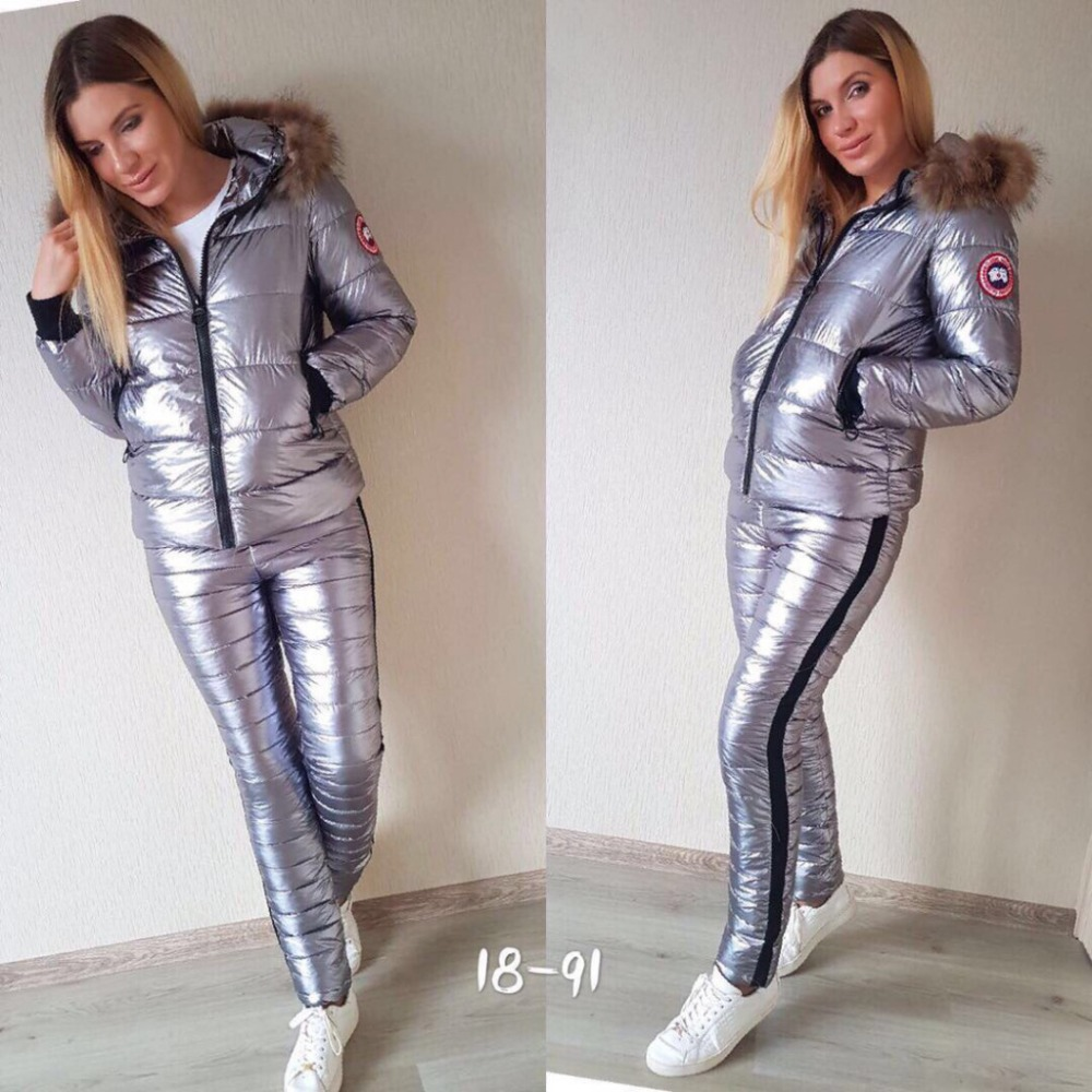 Shiny Girl Two Piece Women   Parkas   Set Cotton Jacket Winter Coat Silver Fur Collar Warm Female Padded Outwear Jacket+Pants