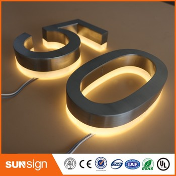Custom stainless steel LED house numbers lighted steel d thurston house