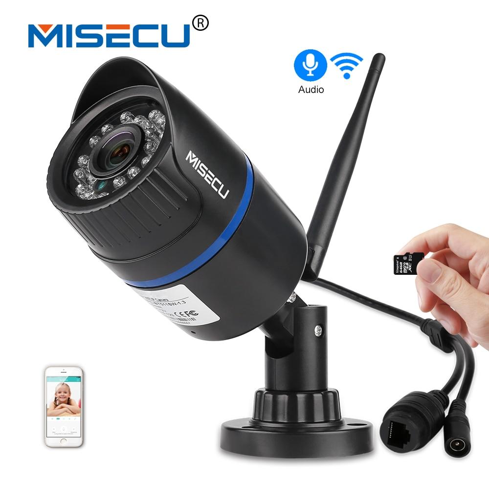 MISECU Audio H.264 + Wifi 2.0MP IP caméra construit en 64 GB SD fente 1920*1080 P P2P Sans Fil push e-mail Nuit vision IR Extérieur CCTV