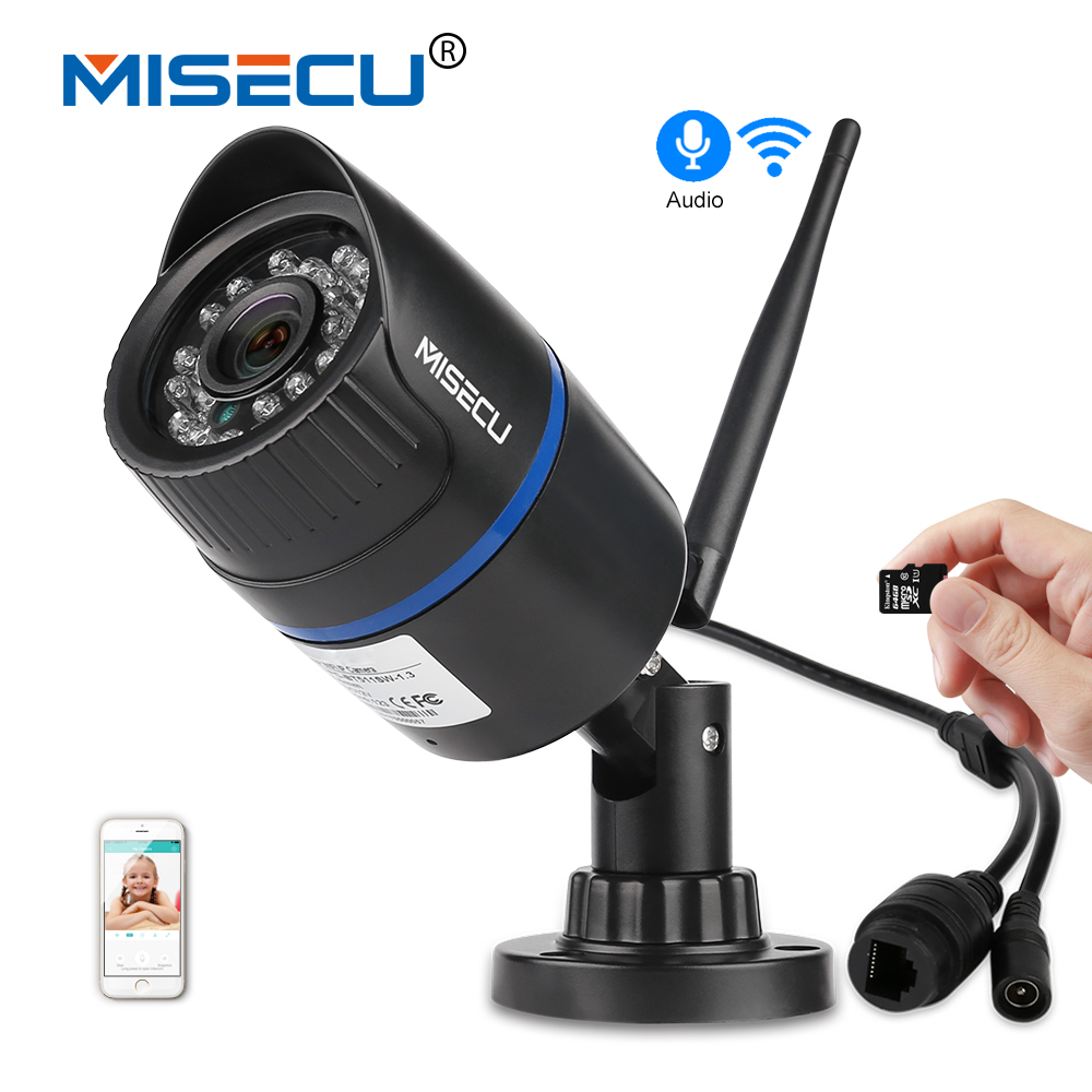 MISECU Audio H.264 + Wifi 2.0MP ip-kamera in 64 GB SD slot 1920*1080 P P2P Wireless email push nachtsicht IR Outdoor CCTV