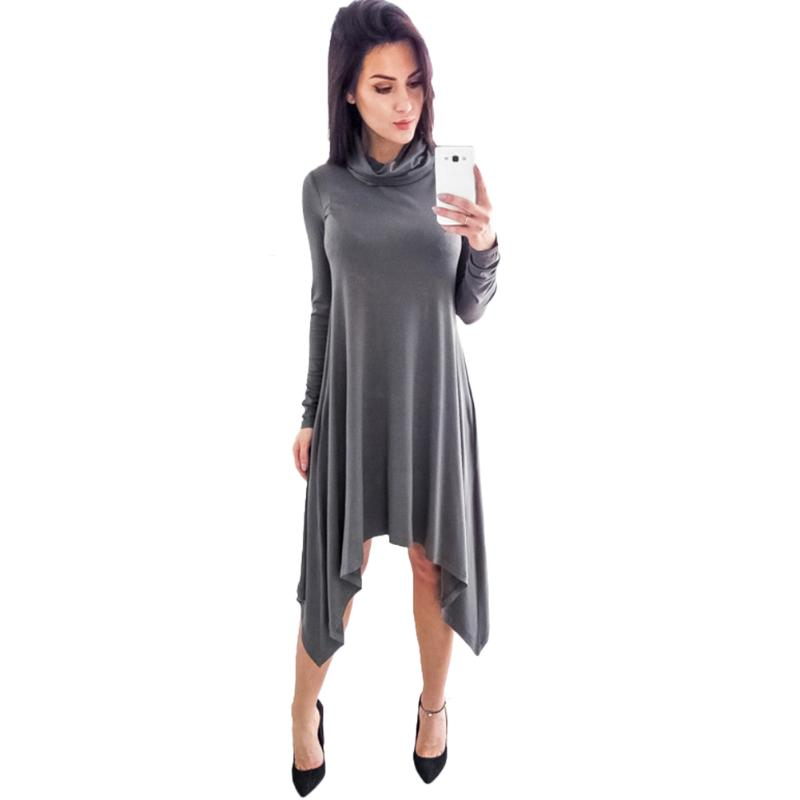 Women Casual Turtleneck Dress Knitted Casual Long Sleeve Party Midi Dress Spring Solid Asymmetric Hem Loose Dress Plus Size 3XL casual grey turtleneck slit hem midi dress