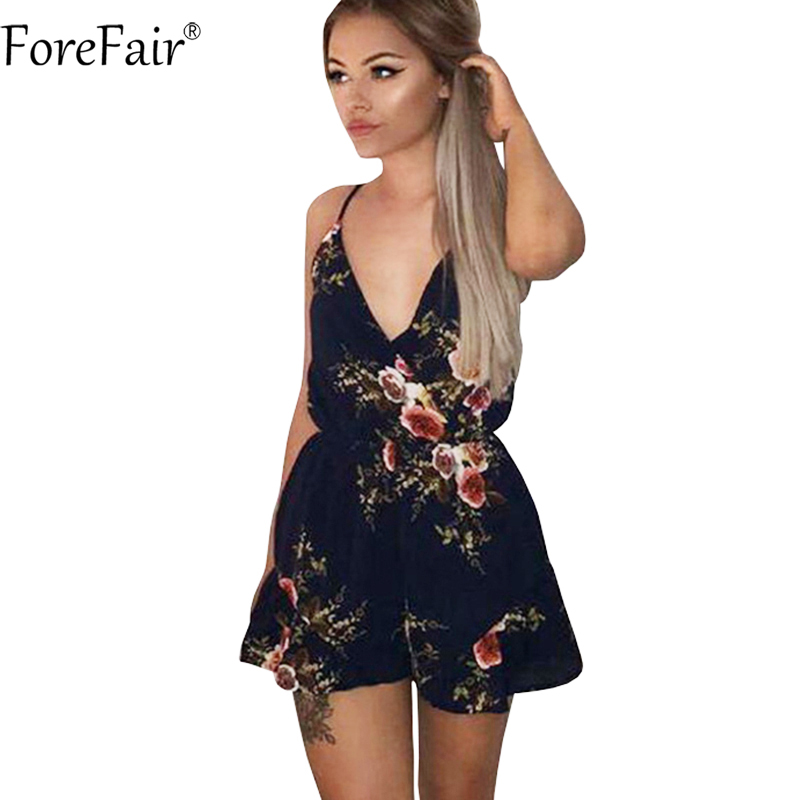 f18e8726c74 ForeFair Floral Print Strap V Neck Backless Rompers Women Jumpsuits Summer  Casual Playsuit-in Rompers from Women s Clothing on Aliexpress.com