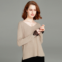 Winter Autumn V Neck Sexy Cashmere Sweaters Long Sleeve with Lace Women 2018 New Wool Pullovers Solid Sweaters Knitted Jumpers