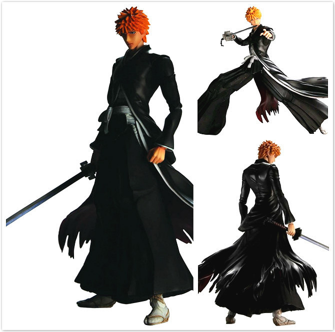 Free Shipping 10 PA KAI QUARE ENIX Bleach Kurosaki Ichigo Black Boxed 25cm PVC Action Figure Collection Model Doll Toy Gift free shipping 7 anime super sonico with macaroon tower boxed 17cm pvc action figure collection model doll toy gift