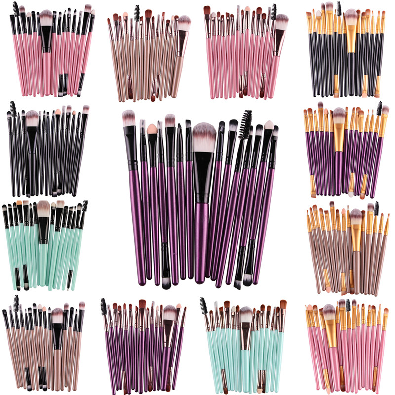 Pro 15Pcs Makeup Brushes Set Eye Shadow Foundation Powder Eyeliner Eyelash Lip Make Up Brush Cosmetic Beauty Tool Kit