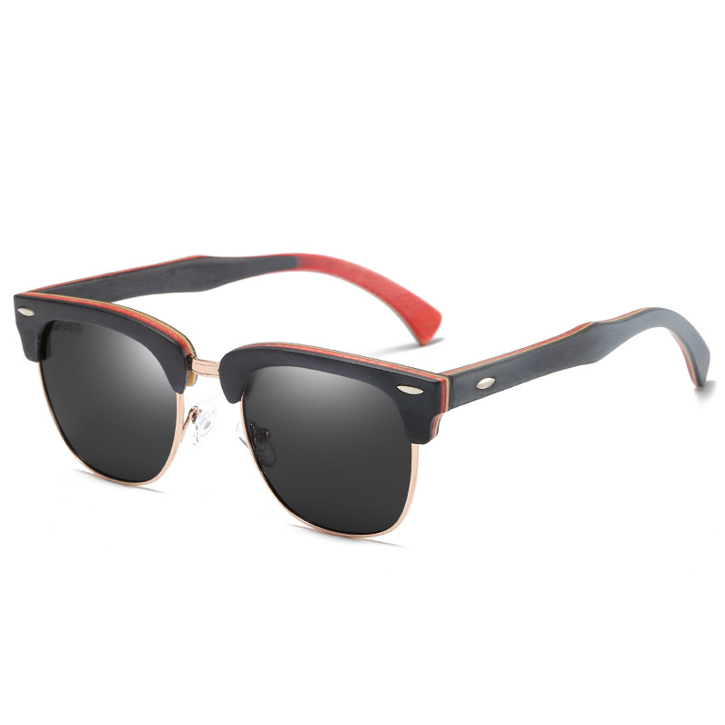 New Product Men Wood Polarized <font><b>Sunglasses</b></font> Color Matching Frame Women Sun Glasses image