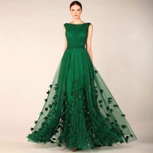 Custom Made Evening Dresses For Plus Size Women Prom Long Night Applique Tulle Emerald Green Dress To The Floor