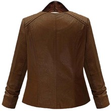 Plus Size Women's Brown Faux Leather Jacket
