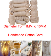 (Diameter from 1MM to 10MM) Natural Handmade Cotton Cord Decoration Rope Beige Cotton Rope Art Craft Making Knitting Beading Cor