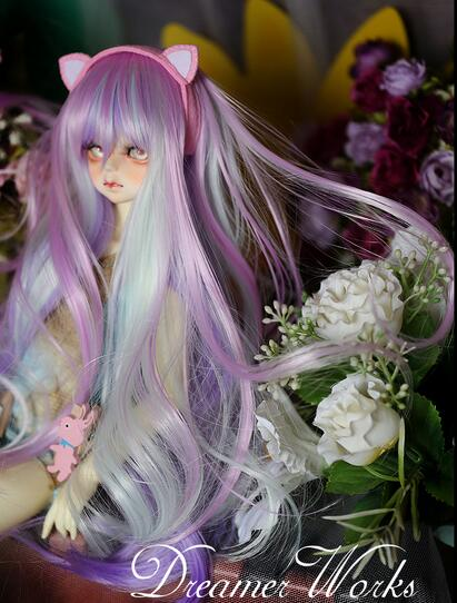 "BJD 1//4 7-8/"" 18-18.5 Dal.Pullip.SD MSD Dollfie Doll Seductie Blue Black Long Wig"