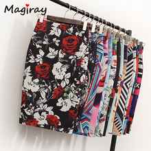 Magiray Floral Print High Waist Pencil Skirt Fashion Bodycon Skirts Womens Summer 2019 Knee Length Elastic Saia 23 Colors C574