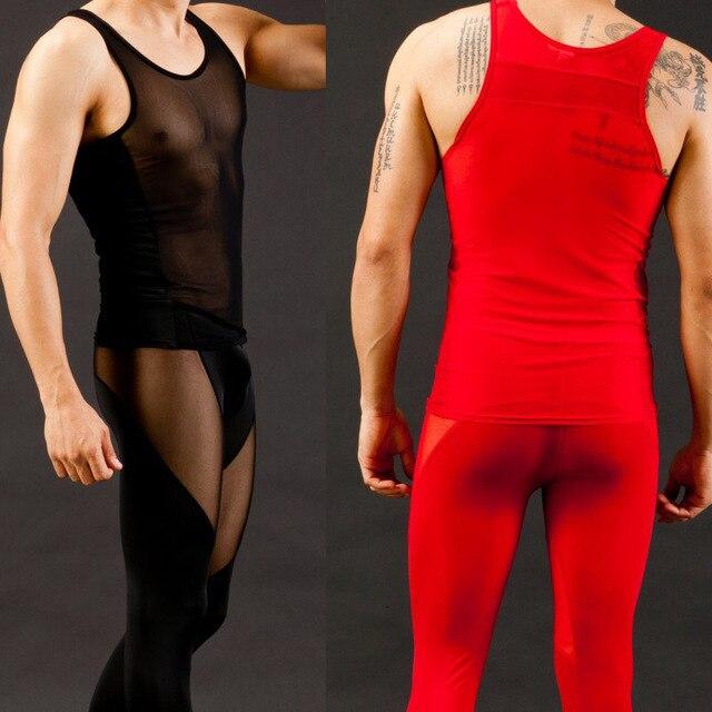 (1 Unidades) hombres Sexy Ultra-delgado chaleco y pantalones de Malla transparente See-thru tank tops trabajo conjunto fuera gay longjohns