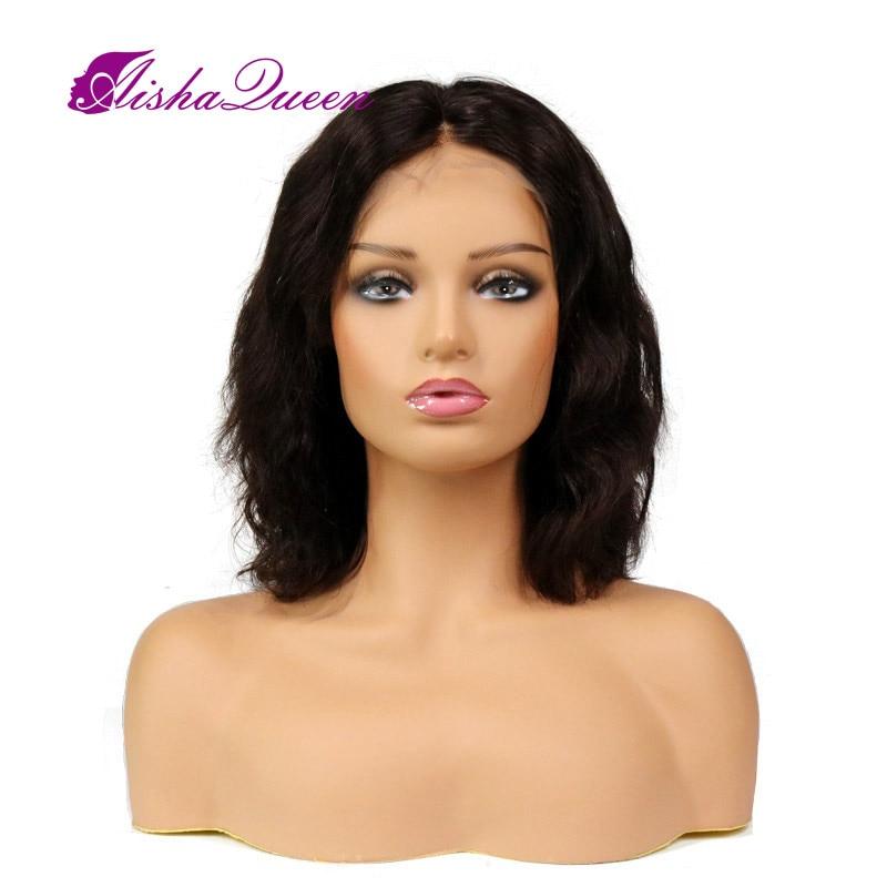 Glueless Full Blonde Human Hair Parykker Kort Natural Wave Bob - Menneskehår (sort)