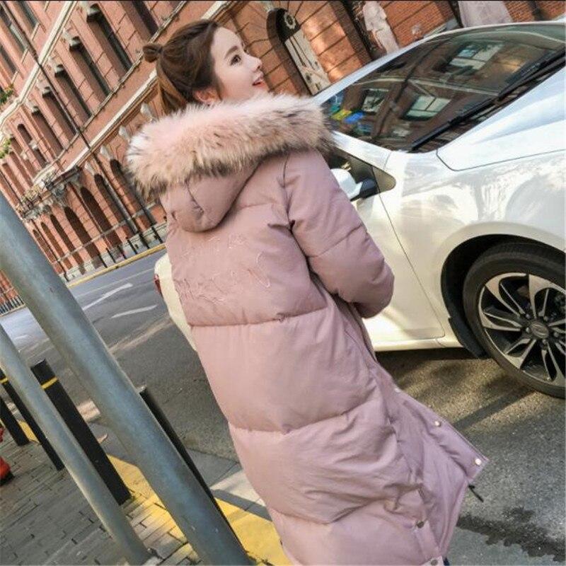 211 Vers Grande Col Femmes Fourrure Casual Chaud Black pink Manteaux Coton Lâche Longs Taille Capuchon Bas De D'hiver Manteau Le Neige Épais Veste Hiver Porter À zgwFTqEFx