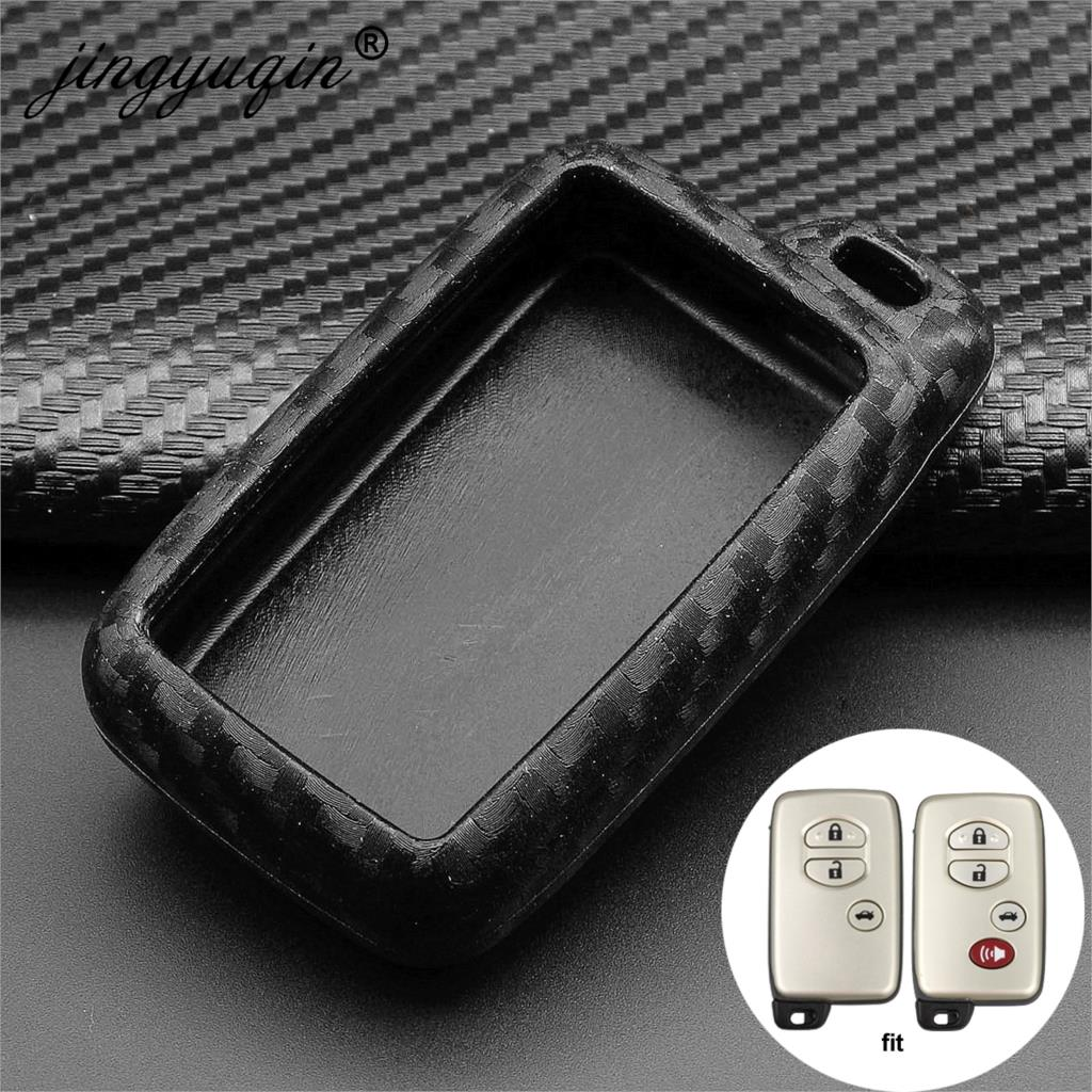 Jingyuqin Silicone Carbon Car Key Case Cover For Toyota Land Cruiser Prado 150 Camry Prius Crown For Subaru Foreste Outback XV