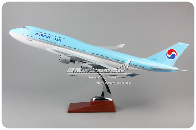 47cm Resin Boeing 747 Korean Air Airlines Airplane Model South Korea B747-400 HL7412 Decorative Airways Airbus Aircraft Model 1 400 jinair 777 200er hogan korea kim aircraft model