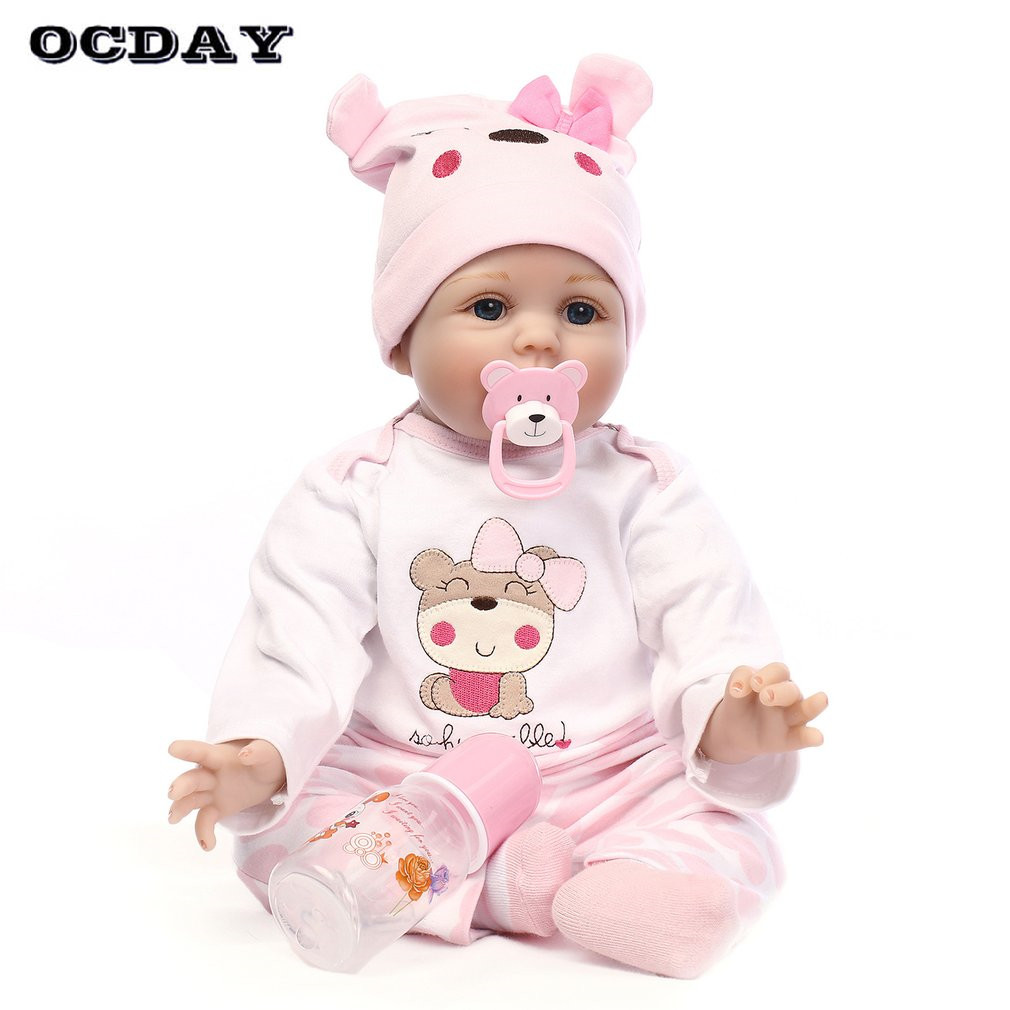 OCDAY 55CM Lovely Kids Reborn Baby Doll Soft Non-Toxic Vinyl Lifelike Newborn Doll Girls Birthday Gift For Children Girls Toys