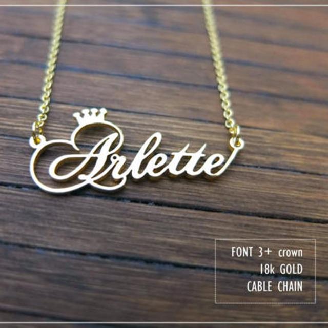 Corona personalizzata Nome Collana Personalizzato Gioielli In Argento Oro Rosa Targhetta In Acciaio Inox Collana Del Choker Delle Donne del Regalo della Damigella D'onore