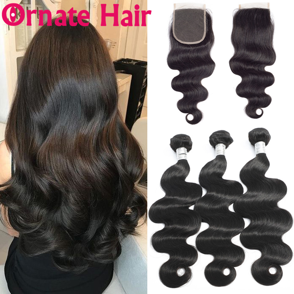 Ornate Body Wave Human Hair Bundles With Closure Brazilian Hair Weave Bundle With Closure Non Remy