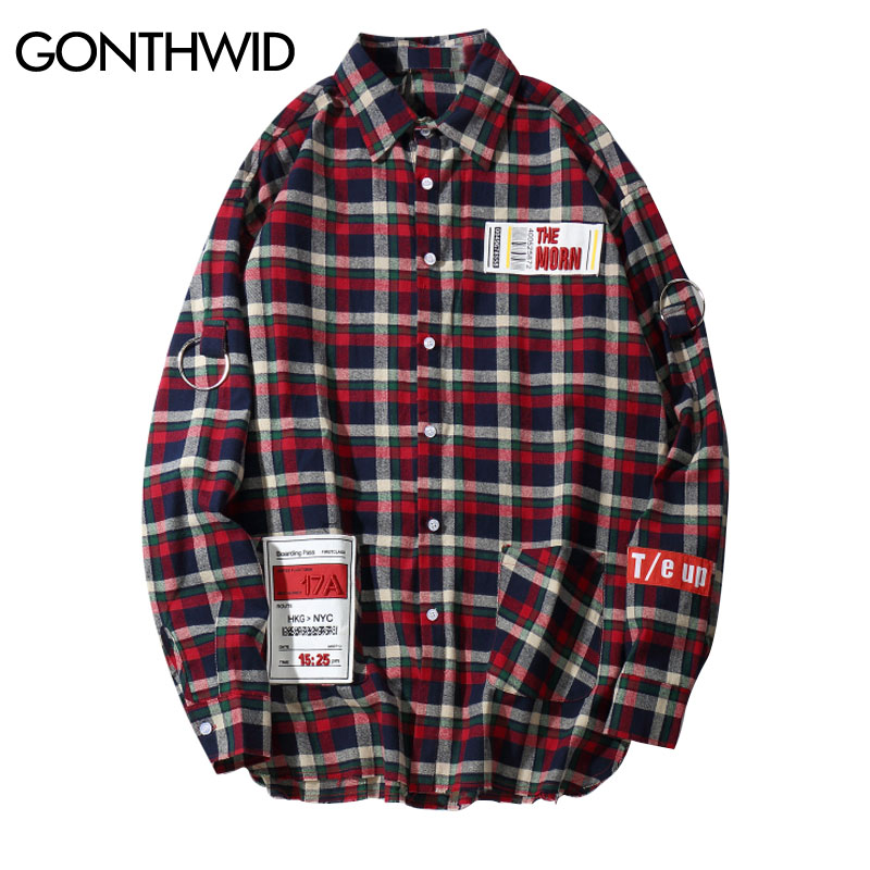 b2a665eabc Streetwear Turn Tops Camisas Hip Algodón Hombres Plaid Green Down red Camisa  2018 Manga Suelta purple Casual ...