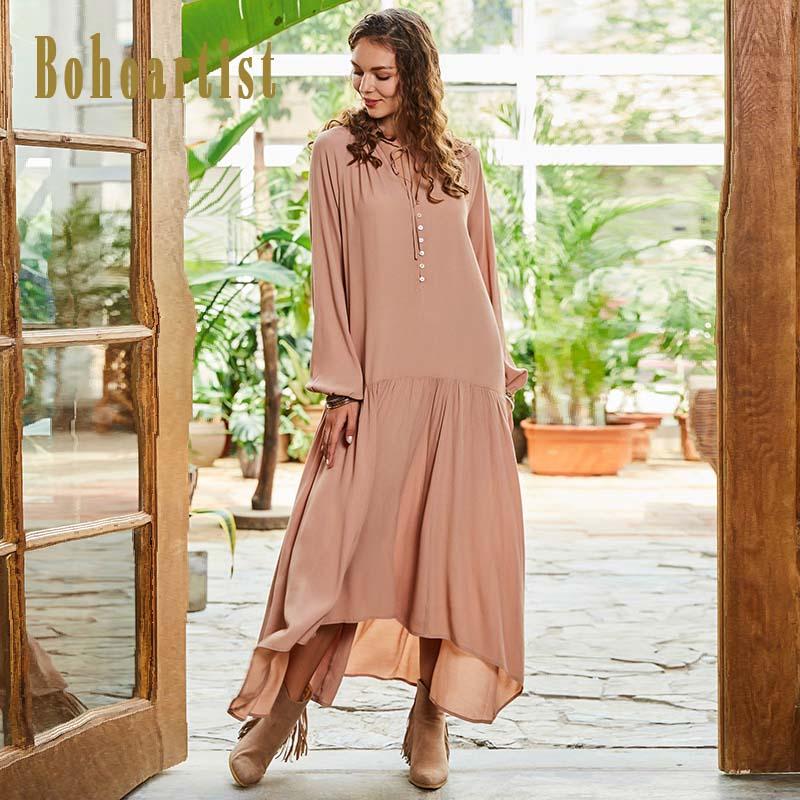 Bohoartist Women Autumn Dress Beige Lantern Sleeve Ruffles V Neck Asymmetrical Boho Style Chiffon Vacation Famale Maxi Dresses