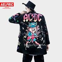 AELFRIC 2018 Autumn Winter Men Jackets Coats 3d Graffiti Print Hip Hop Outwear Fashion Windbreaker Rock Jacket Streetwear TR28