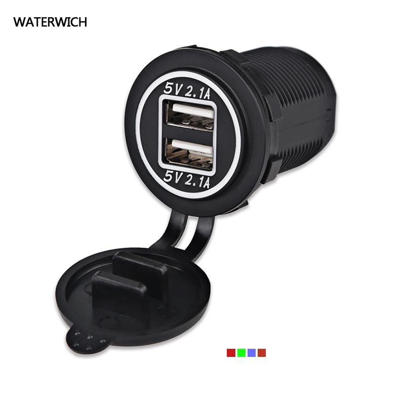 WATERWICH Waterproof Dual USB Car Charger Power Adapter 5V 4.2A Socket Charger For iPhone 5 6 6S Ipad Samsung Tablet Car-Charger