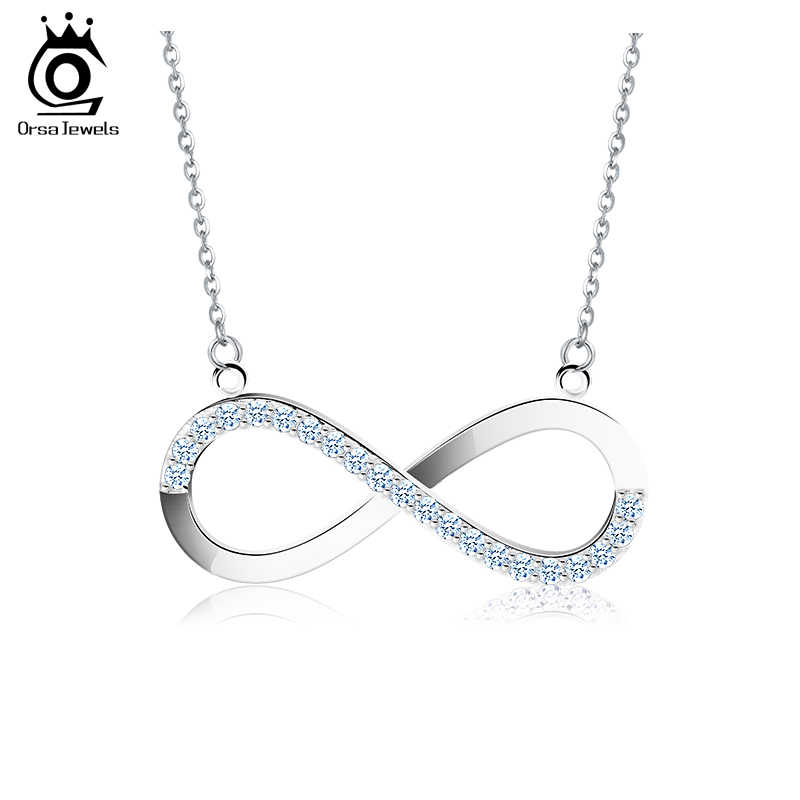 ORSA JEWELS 2019 AAA Brilliant Austrian CZ Infinity Pendant Silver Color Necklace for Women/Lover Fashion Jewelry Gift ON112