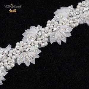 Image 5 - TOPQUEEN H232 Bruiloft headwears voor vrouwen trouwjurk met parels kant bloemen met kristal Haar decoraties voor vriendin
