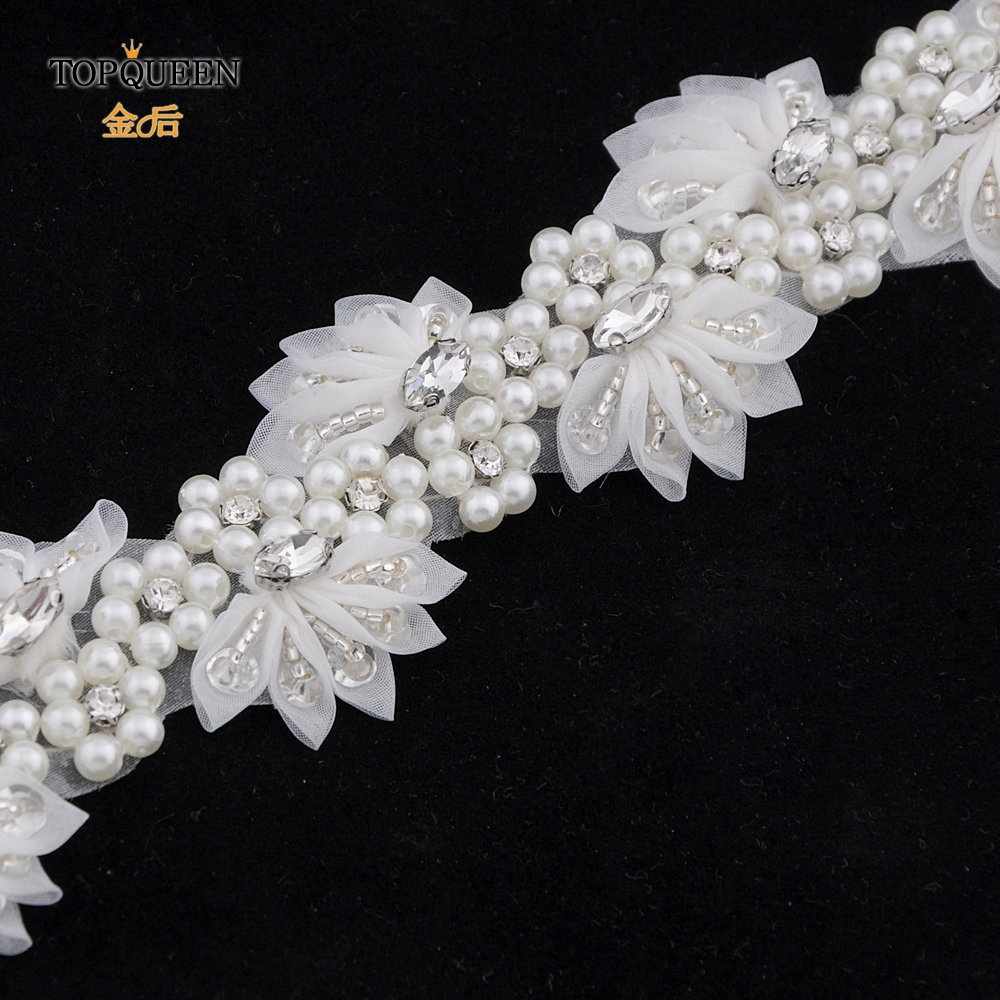Image 5 - TOPQUEEN H232 Wedding headwears for women Wedding dress with pearls  lace flowers with crystal Hair decorations for girlfriend-in Bridal Headwear from Weddings & Events