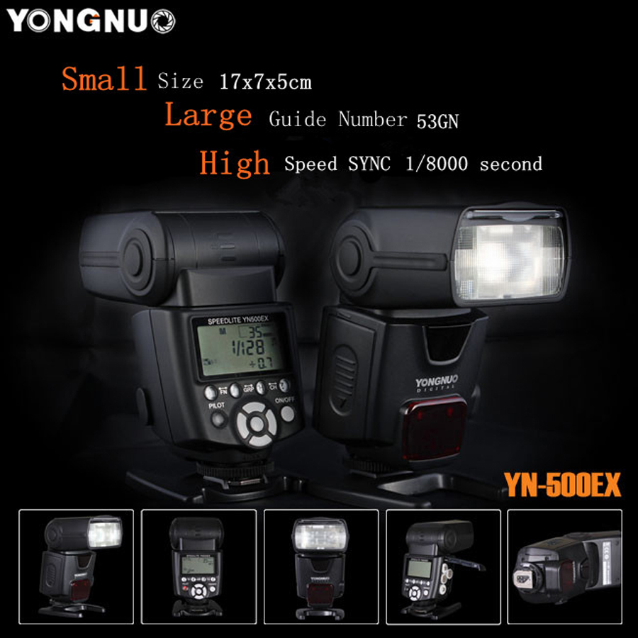 YN500EX YN-500EX E-TTL GN53 1/8000s HSS Camera Flash Light Speedlite for Canon 6D 7D 5D2 5D3 60D 650D 600D 550D 700D