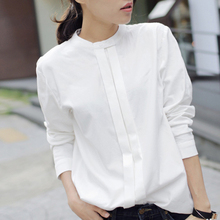 2016 Spring New Women Shirts Blouses Korean Blusas Plus Size Elegant Ladies OL Cotton Long Sleeve White Shirt for Women 800036