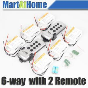 10 pcs/lot ARD 6-way sans fil télécommande interrupteur télécommande interrupteur lumière 220 v (2 télécommandes) # BK108 @ SD