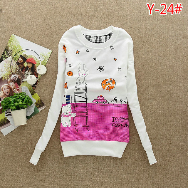 (Alice) Free Shipping 2015 New winter Cartoon printing Long sleeve women Hoodies Leasure Sport Coat Sweatshirt 31model