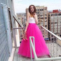 England Style Hot Pink Puffy Tutu Skirts Floor Length Long Skirts For Pretty Lady Zipper Style Fashion Tulle Skirt For Women