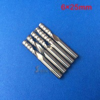 Free Shipping 5 Pcs Carbide Endmill Single Flute Spiral CNC Router Endmill Bits 6mm 25mm