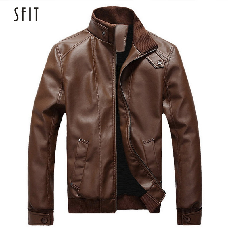 SFIT 2019 Motorcycle Black Leather Jacket Men Men's Leather Jackets Jaqueta De Couro Masculina Clothes Mens Leather Coats