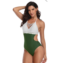 цена на Sexy One Piece Swimsuit Women 2019 Stitching Lace One-piece Swimsuit  Contrast Color Swimwear Backless Bathing Female Swim Wear