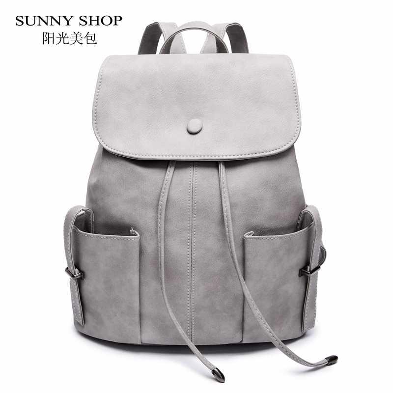 a57067e10a1e Солнечный магазин повседневный рюкзак на шнурке для женщин 2018 маленький  однотонный школьный рюкзак для девочек из