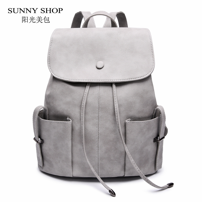 SUNNY SHOP Casual Drawstring Backpack For Women 2018 Small Solid School Backpack For Girls PU Leather Stylish Bagpack Grey Blu stylish buckle pu leather criss cross corset for women