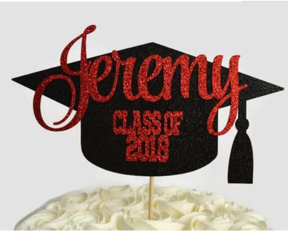 personalize number name glitter Graduation Cap congrats grad centerpiece picks 2019 class Cake Topper - School cake toppers buttercream