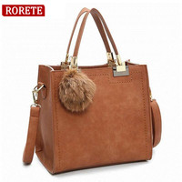 Good Quality Winter Women Leather Handbag Vintage Furly Handbags Luxury Designer Messenger Bags Girls Top Handle