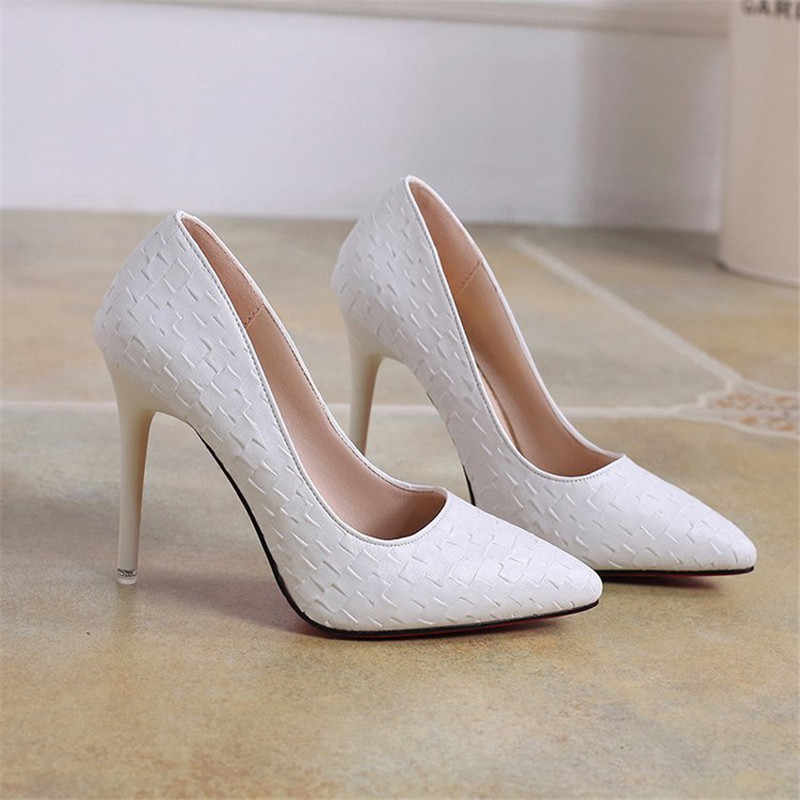 2019 yeni moda kadın ayakkabı yılan parti düğün ayakkabı büyük boy 34-40 seksi sivri burun yüksek topuklu pompalar kadın ayakkabı