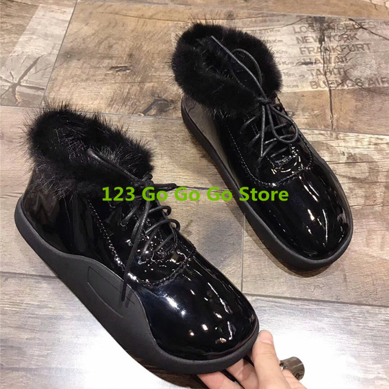 Hot Women Winter Warm Shoes Front Lace Up Shoes Low Top Flats Casual Shoes Patent Leather Korea Stylish Shoes Fashion Sneakers 2016 hot low top wrinkled skin cockles trainers kanye west chaussure flats lace up mens shoes zapatos mujer casual shoes