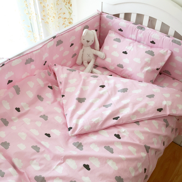 Cotton Baby Bedding Sets Nordic Style Cotton Printed Baby Bumpers Cot Sheet Quilt Caver Pillow Case Comfortable Baby Bedding earthing fitted sheet earth grounding cotton $ silver conductive kit king 198 203cm with 2 pillow case revitalize and energize