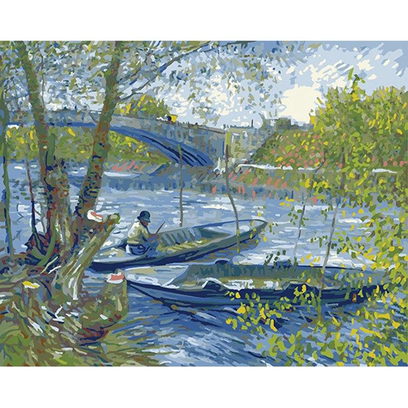Pintura a óleo abstrata famosa por van gogh arte da parede cuadros decoracion imagem pintura por números sobre tela o menino de pesca dy402