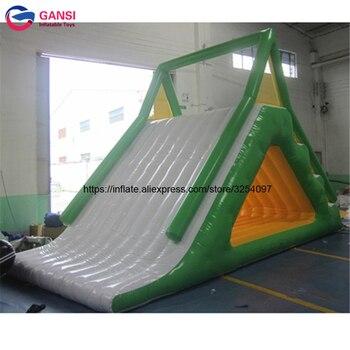 Tobogán de agua de trampolín de parque acuático flotante inflable de mar/lago para adultos y niños